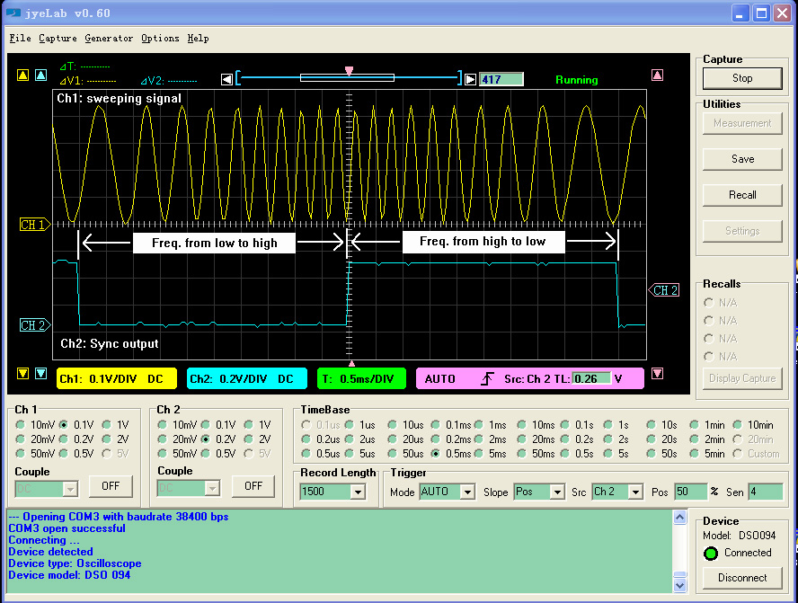 Screenshot of jyeLab PC Oscilloscope